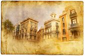views of Barcelona in retro/vintage style