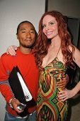 John Quan and Phoebe Price on the set of