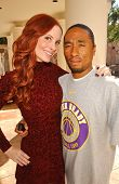 Phoebe Price and John Quan  on the set of