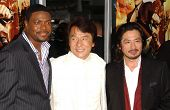 Chris Tucker with Jackie Chan and Hiroyuki Sanada at the Los Angeles Premiere of