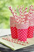 Red Paper Cups And Striped Straws
