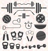 stock photo of preacher  - Collection of workout and weightlifting icons and objects - JPG