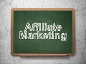 Business concept: Affiliate Marketing on chalkboard background