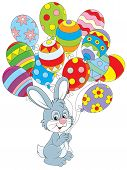 pic of cony  - Little rabbit with colorful balloons decorated like Easter eggs - JPG