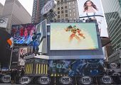Fox Sports broadcast set construction underway on Times Square during Super Bowl XLVIII week in NY