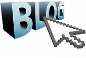 Arrow Pixel Cursor Clicks On 3D Word To Blog Big
