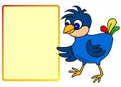 Little bird pointing to message board