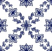 Classical Blue Flower Graphic For Unlimited Repeat To Larger Pattern