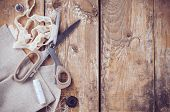 stock photo of sewing  - Rustic sewing background - JPG