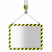 stock photo of crane hook  - Crane hook lifting of placard isolated on white background - JPG