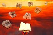 Stack Of Books And Red Sunset Sky Background