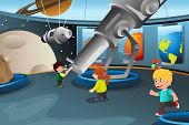 stock photo of planetarium  - A vector illustration of happy kids on field trip to a planetarium - JPG