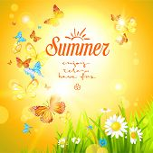 Positive summer background with sunshine and butterflies. Place for text