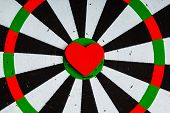 Closeup Black White Target With Heart Bullseye As Love Background