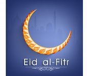 Beautiful crescent leaf decorated crescent moon on mosque silhouetted purple background for Muslim community festival Eid-al-Fitr celebrations.