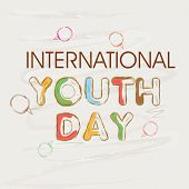 Stylish colourful text International Youth Day on grey background.
