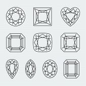 Vector Diamond Cuts Icons Set