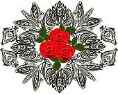 illustration with rose flowers in dark ornament