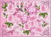 illustration with light pink roses background
