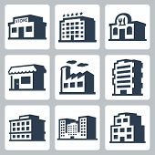 Buildings Vector Icons Set, Isometric Style