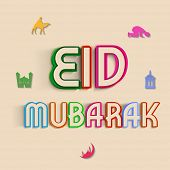Beautiful Eid Mubarak celebration greeting card design with colourful stylish text for muslim commun