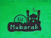 Stylish mosque design on grungy green background for muslim community festival Eid Mubarak festival