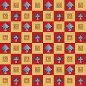 Seamless Background Of A Poker Card Suits On Squares Of Different Sizes.