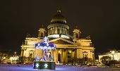 Christmas Carousel And Cathedral Of Saint Isaac, St. Petersburg
