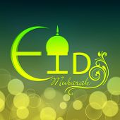 Stylish glossy text Eid Mubarak on floral decorated green background for Muslim community festival c