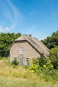 picture of neglect  - Abandoned and neglected historic farmhouse down a Dutch embankment - JPG