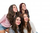 Foursome Teen Girls Looking Aside