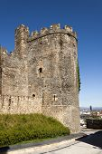 pic of templar  - North tower of the medieval templar castle in Ponferrada Bierzo Spain - JPG
