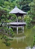 Japan. Narita. pavilion on the lake in park