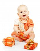 Smiling Child Develops Gift Box