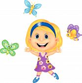Happy cartoon little girl with colorful butterfly