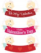 Baby angels holding Valentines banners isolated set