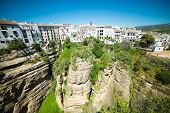 Panoramic view from New bridge in Ronda, one of the famous white place in Andalucia, Spain