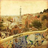 View of Barcelona from Park Guell. Grunge and retro style.