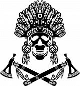 stock photo of tomahawk  - Skull in Indian headdress and crossed tomahawks - JPG
