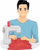 Illustration of a Man Using a Sewing Machine