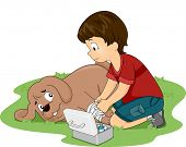 Illustration of a Little Boy Applying First Aid Measures on His Dog
