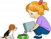 Illustration of a Little Girl Feeding Her Dog