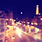 Defocused lights of night Paris.