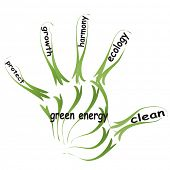 Conceptual abstract green ecology, conservation word cloud text in man hand or handprint on white ba