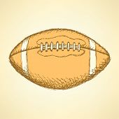Sketch American Football Balll, Vector Background