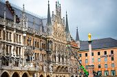 MUNICH, GERMANY - MAY 13: Marienplatz in Munich on may 13, 2014. It has been the city's main square