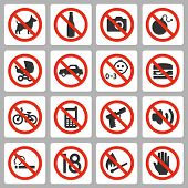 Prohibiting Signs Vector Icons Set