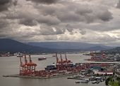 Vancouver Harbor With Container Terminal In The Foreground.