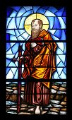 PORTOFERRAIO, ELBA, ITALY - MAY 03, 2014: Saint Paul stained glass in the Church of the Holy Sacrame