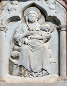 PORTOFINO,ITALY - MAY 04,2014:Madonna with Child and Saints,relief at house,Portofino is an Italian